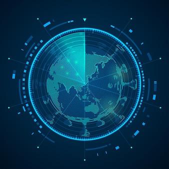 Koncepcja skanowania wirusów zakaźnych w technologii medycznej, grafika radaru z mapą świata i wirusem