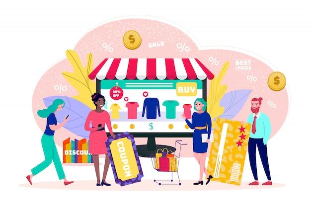 Koncepcja sklepu internetowego, sprzedaż, małe osoby klienci kupujący z ilustracją płatności online wiz. technologia sklepów internetowych w internecie. koszyk, technologia e-commerce, marketing.