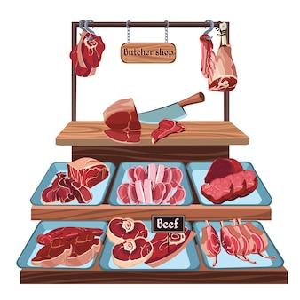 Koncepcja sklepu mięsnego ręcznie rysowane