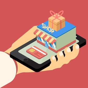 Koncepcja sklepu mobilnego. ilustracja wektorowa ręką trzymającą telefon komórkowy z budynku sklepu