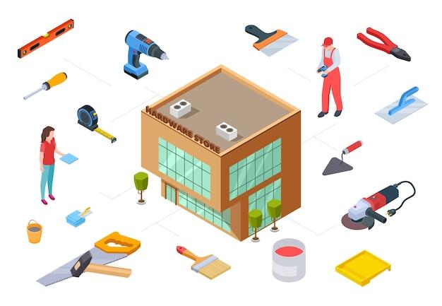 Koncepcja sklepu sprzętu. materiały budowlane z kolekcji izometrycznej. wektor 3d budynek sklepu dostarcza narzędzia do projektowania naprawy konstrukcji. narzędzie ilustracja sprzęt do naprawy