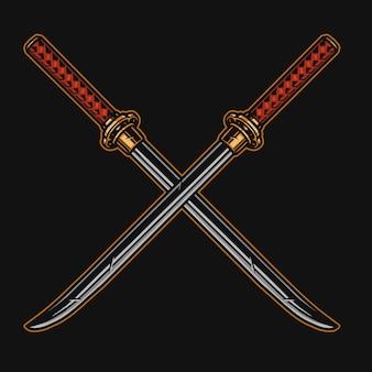 Koncepcja skrzyżowane ostre miecze samurajskie katana w stylu vintage na białym tle