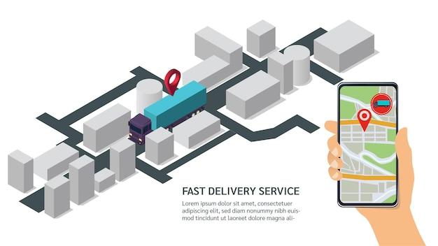 Koncepcja śledzenia szybka dostawa. izometryczna ciężarówka w trasie śledzona za pomocą aplikacji mobilnych.