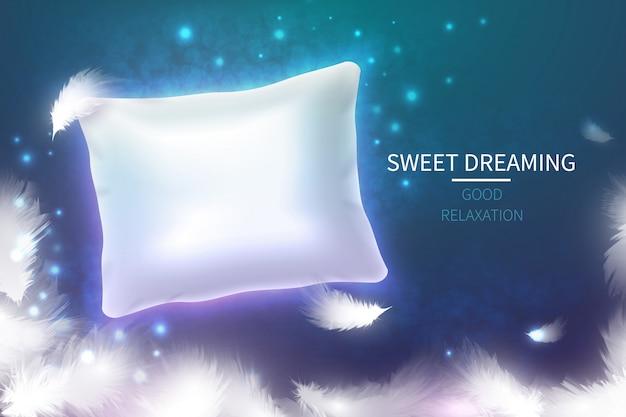 Koncepcja słodkich snów z 3d realistyczną białą poduszką