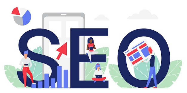 Koncepcja słowa seo kreskówka mieszkanie ludzie analitycy pracujący na laptopie analizujący ranking danych wyszukiwania w sieci