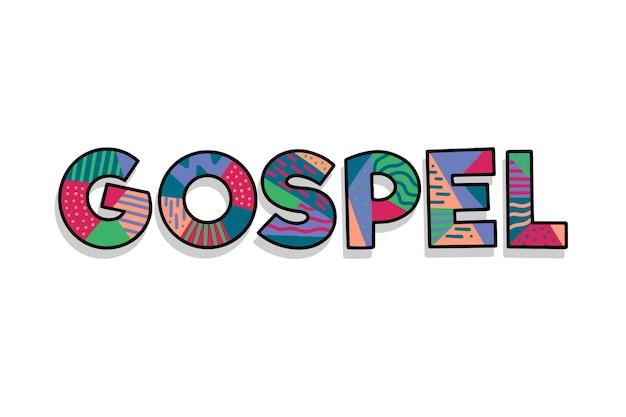 Koncepcja słowo kolorowe religijne ewangelii