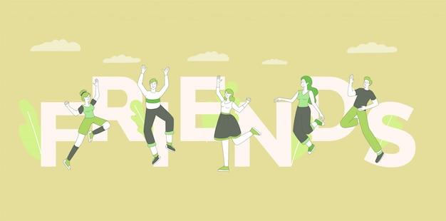 Koncepcja słowo przyjaciół. przyjazny związek, koncepcja społeczności, projekt obchodów dnia przyjaźni z typografią. radośni młodzi dorośli, pozytywni ludzie skaczący w powietrzu