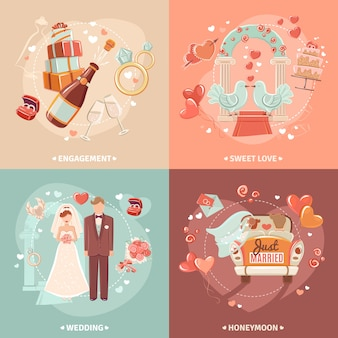 Koncepcja ślubu 4 płaskie ikony kwadratowych