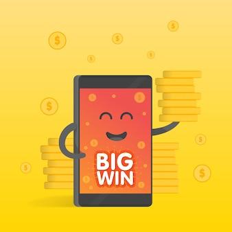 Koncepcja smartphone zarobków pieniędzy, dużo monet. tło pieniędzy spada. ładny telefon postać z kreskówek z rąk, oczu i uśmiechu.