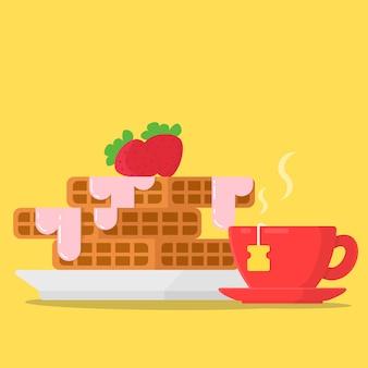 Koncepcja śniadanie gofry z dżemem truskawkowym i filiżanką herbaty