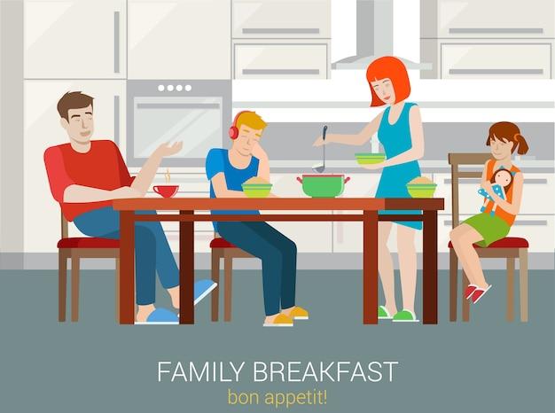 Koncepcja śniadanie rodzinne w stylu płaski. rodzice dzieci siedzi na stole kuchennym kobieta owsianka nałożyć na talerz miski. matka, ojciec, siostra, brat, syn córka. kolekcja kreatywnych ludzi.