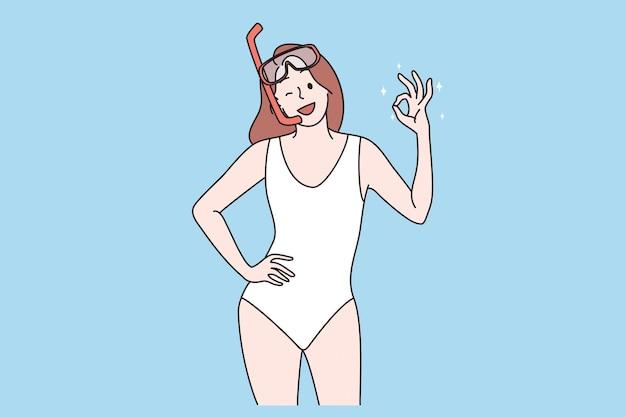 Koncepcja snorkelingu i letniej wody na plaży