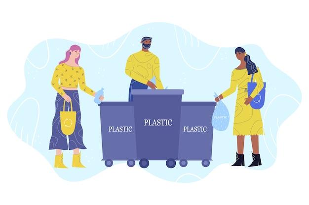 Koncepcja sortowania śmieci. grupa młodych ludzi wyrzuca plastik do kosza na śmieci.