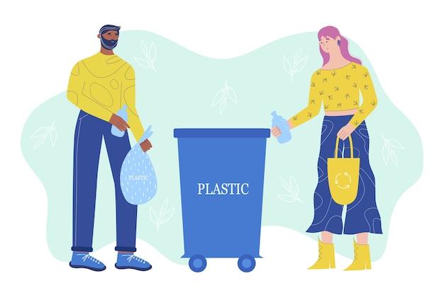 Koncepcja sortowania śmieci. młodzi ludzie wrzucają plastik do specjalnych pojemników na plastik. w stylu kreskówki.