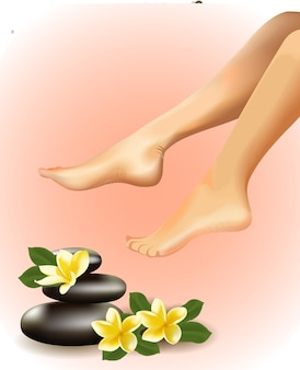 Koncepcja spa z realistycznymi kobiecymi stopami, frangipani i kamieniami. ilustracja.