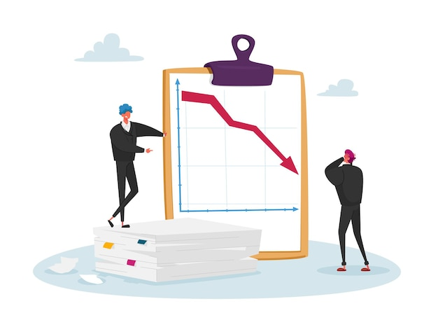 Koncepcja spadku, spadku i amortyzacji rynku. przygnębione postacie biznesmenów patrząc na spadającą czerwoną strzałkę.