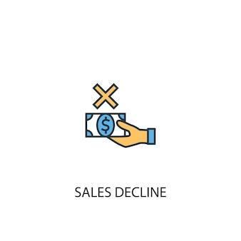 Koncepcja spadku sprzedaży 2 kolorowa ikona linii. prosta ilustracja elementu żółty i niebieski. spadek sprzedaży koncepcja konspektu symbol projekt