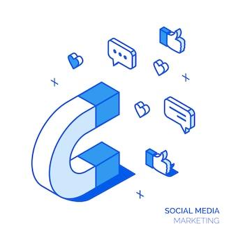 Koncepcja społecznej marketingowej izometryczny
