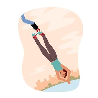Koncepcja sportów ekstremalnych i rekreacji. wesoła odważna postać kobieca skacząca na bungee z mostu lub wysokiej wieży. młoda nieustraszona kobieta cieszy się xtreme liny skok. ilustracja wektorowa kreskówka ludzie