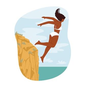Koncepcja sportów ekstremalnych i rekreacji z urwiska. szczęśliwa odważna postać kobieca skacząca w oceanie z high rock edge. młoda nieustraszona kobieta cieszy się skokiem do nurkowania xtreme. ilustracja wektorowa kreskówka ludzie
