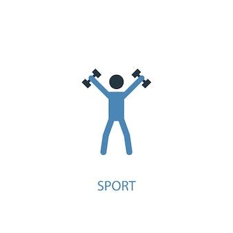 Koncepcja sportu 2 kolorowa ikona. prosta ilustracja niebieski element. koncepcja symbol sportu. może być używany do internetowego i mobilnego interfejsu użytkownika/ux