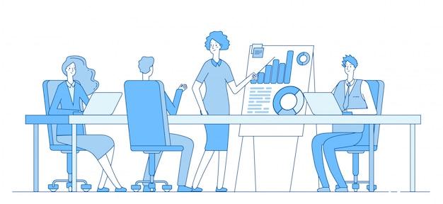 Koncepcja spotkania biznesowe. bizneswoman na prezentaci z drużyną. konferencja biura osób. udanej pracy zespołowej tło