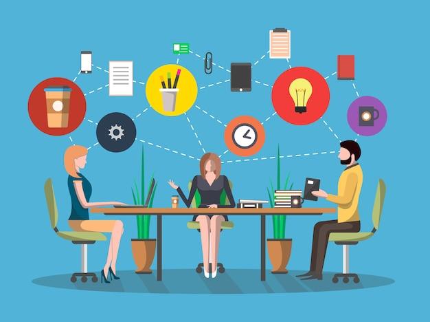 Koncepcja spotkania biznesowe w płaskiej konstrukcji