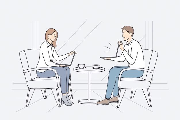 Koncepcja spotkania biznesowego i dyskusji