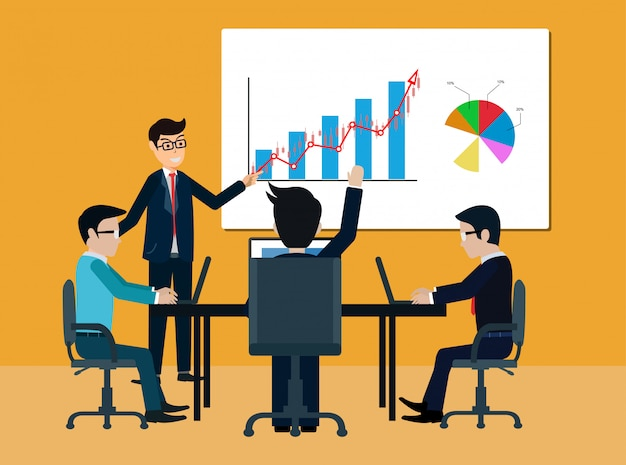 Koncepcja spotkania biznesowego pracy zespołowej. biznesmeni pomagają w burzy mózgów nowoczesnego pomysłu