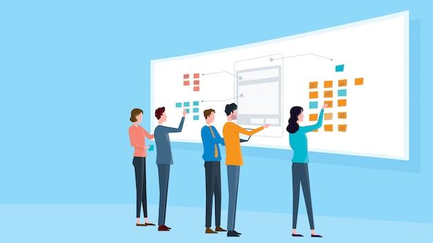 Koncepcja spotkania zespołu biznesowego grupy