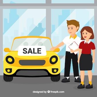 Koncepcja sprzedawca płaski samochód