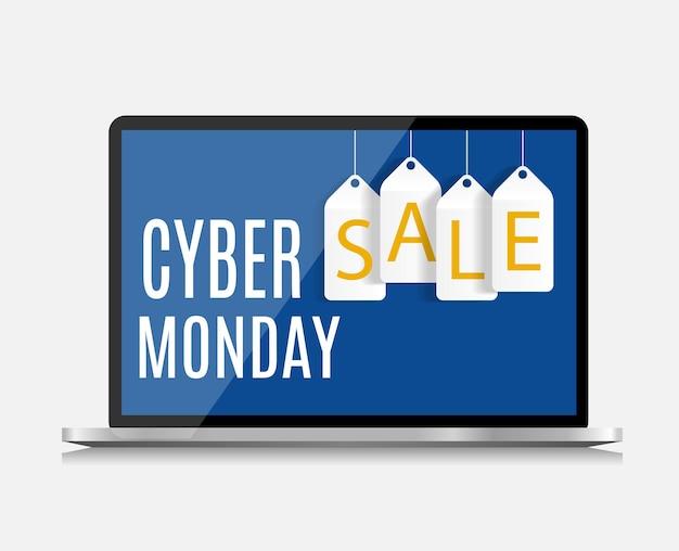 Koncepcja sprzedaży cyber poniedziałek tło. ilustracja wektorowa eps10