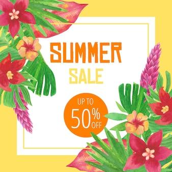 Koncepcja sprzedaży lato akwarela