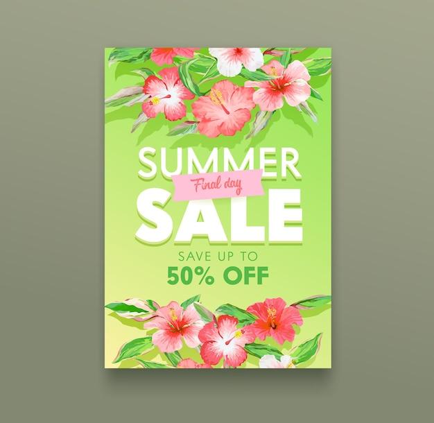 Koncepcja sprzedaży letniej. tropikalny plakat reklamowy z egzotycznymi kwiatami hibiskusa i zielonymi liśćmi. off day promocyjny baner na letni rabat, sklep z ofertą detaliczną projektu ulotki. ilustracja wektorowa