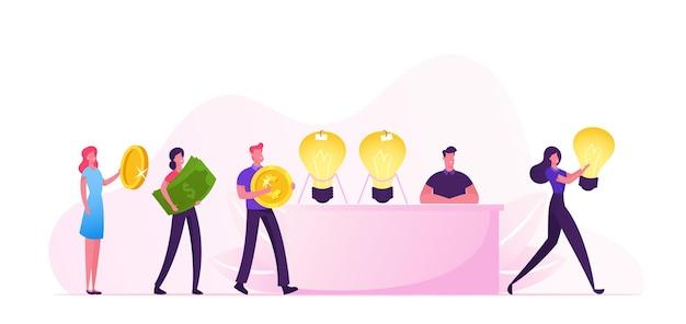 Koncepcja sprzedaży pomysłu. płaskie ilustracja kreskówka