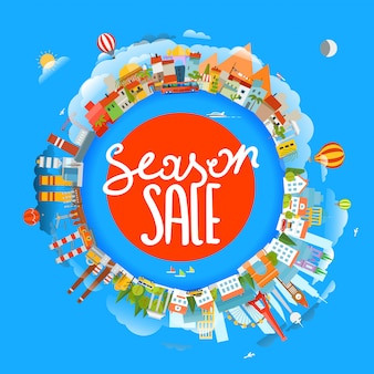 Koncepcja sprzedaży sezonowej, ziemia i różne lokalizacje,