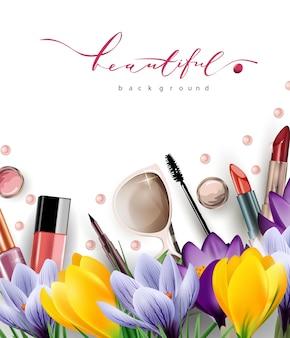 Koncepcja sprzedaży wiosennej kosmetyki i moda tło z makijażem obiektów artysty szablon wektor