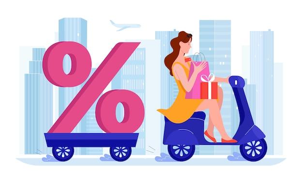 Koncepcja sprzedaży z rabatem. kobieta prowadząca skuter, niosąca znak procentu i pudełka na prezenty