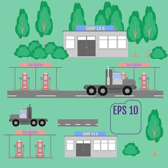 Koncepcja stacji benzynowej benzyny w stylu płaska konstrukcja.