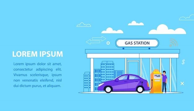 Koncepcja stacji benzynowej. ilustracja serwisowa paliwa samochodowego