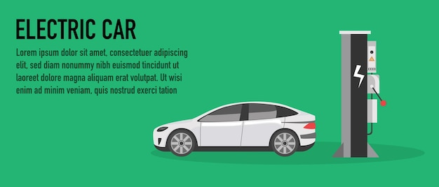 Koncepcja stacji ładowania samochodów elektrycznych. ilustracji wektorowych