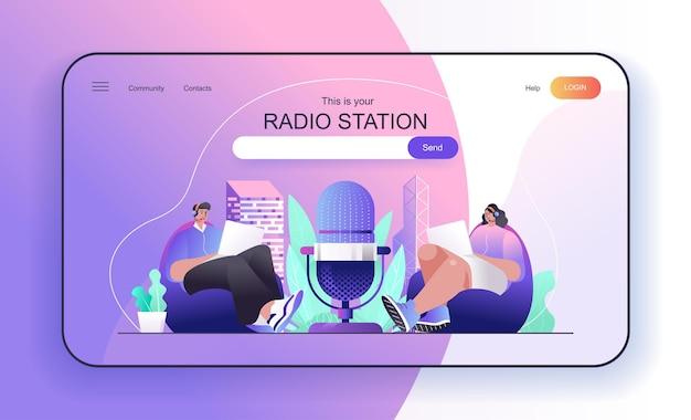 Koncepcja stacji radiowej dla hostów stron docelowych programów radiowych nadawanych na żywo lub nagrywanych