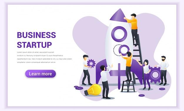 Koncepcja start-up z ludźmi pracują razem, budując rakietę do uruchomienia nowego start-upu biznesowego.