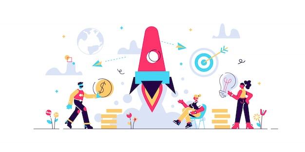 Koncepcja startowa uruchomienie nowej firmy na stronę internetową, baner, prezentację, media społecznościowe, uruchomienie projektu biznesowego. ilustracja młodej powstającej firmy, wystrzelenie rakiety w kosmos, myślenie