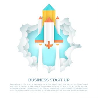 Koncepcja startup biznesu z rakietą
