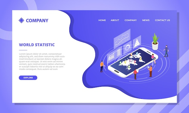 Koncepcja statystyki świata. szablon strony internetowej lub projekt strony głównej docelowej w stylu izometrycznym