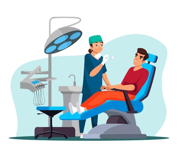 Koncepcja stomatologii. kobieta lekarz dentysta leczy ząb. pacjent leży w fotelu medycznym w gabinecie stomatologa. diagnostyka inspekcyjna, procedura lekarska, klinika stomatologiczna. ilustracja wektorowa postaci