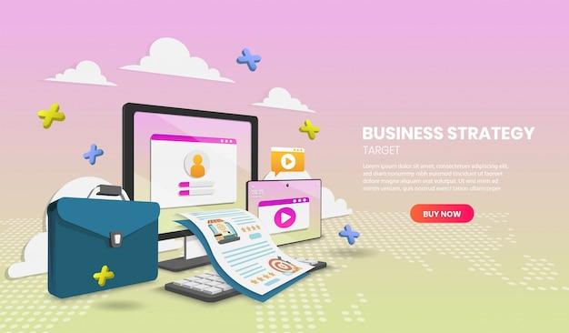 Koncepcja strategii biznesowej z laptopa i dokumentu wektor 3d ilustracji wektorowych.