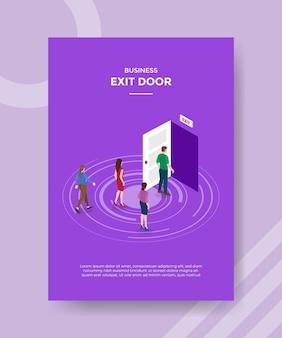 Koncepcja strategii drzwi wyjściowych dla banera szablonu i ulotki z wektorem w stylu izometrycznym