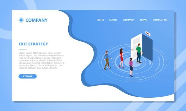 Koncepcja strategii drzwi wyjściowych dla szablonu strony internetowej lub strony docelowej z wektorem w stylu izometrycznym
